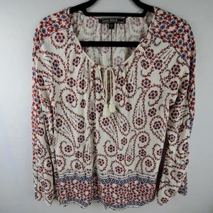 LOVE STITCH Red Cream Blue Floral Boho Bell Sleeve
